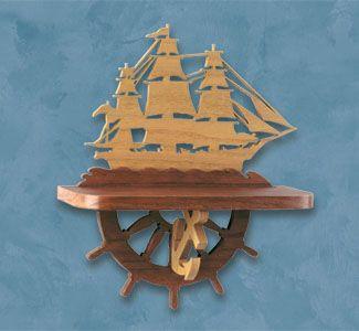 Sailing Ship Shelf Scroll Saw Pattern Ship Wall Shelf. #diy #woodcraftpatterns