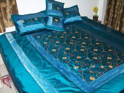 Vintage Silk Embroidered Silk Blue Bedspread / Bed Cover | Kareem Handicraft - Only comes in Double