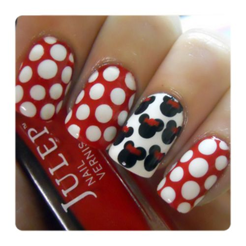 Minnie Mouse inspired nails by Margaret at Holy Manicures. Use Delaunay, Brandt and Brigitte to get the look.