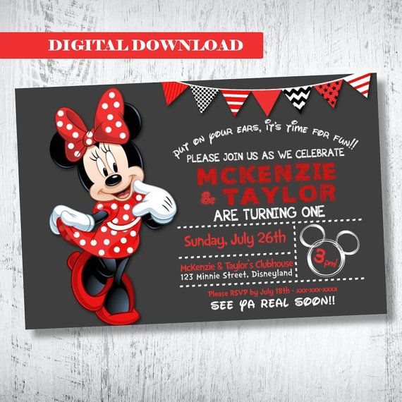 Red Black White Minnie Mouse Twin Invitation. Red by WBevents