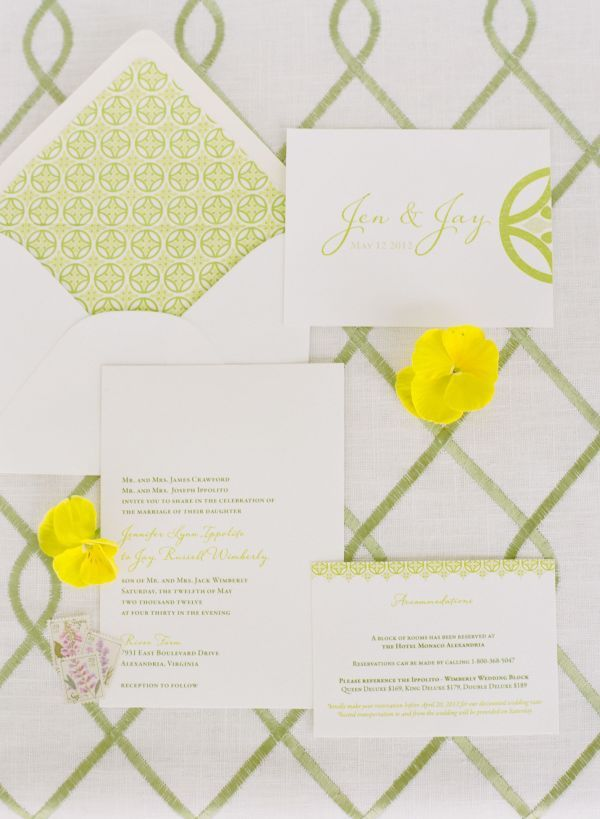white and green graphic wedding stationery