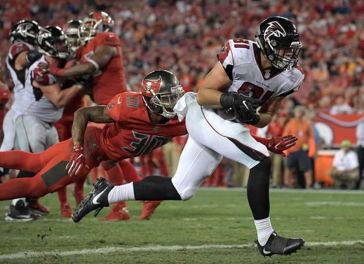 Thursday Night Football: Falcons vs. Buccaneers:  43-28, Falcons  -  November 3, 2016  -     Atlanta Falcons tight end Austin Hooper (81) beats Tampa Bay Buccaneers free safety Bradley McDougald (30) on a 2-yard touchdown reception during the fourth quarter of an NFL football game Thursday, Nov. 3, 2016, in Tampa, Fla.