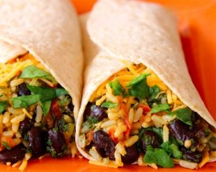Spinach Bean Burrito Wrap Could easily be made vegan and delicious!