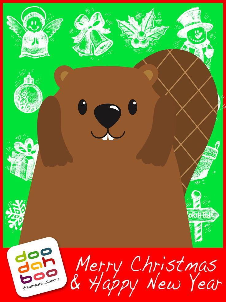 Beaver Christmas Greetings Card