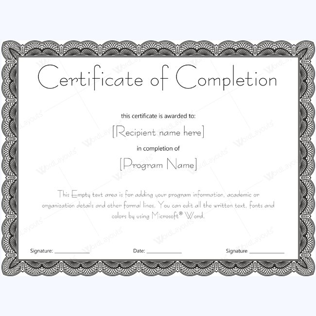 Best Certificate Of Completion Templates Images On