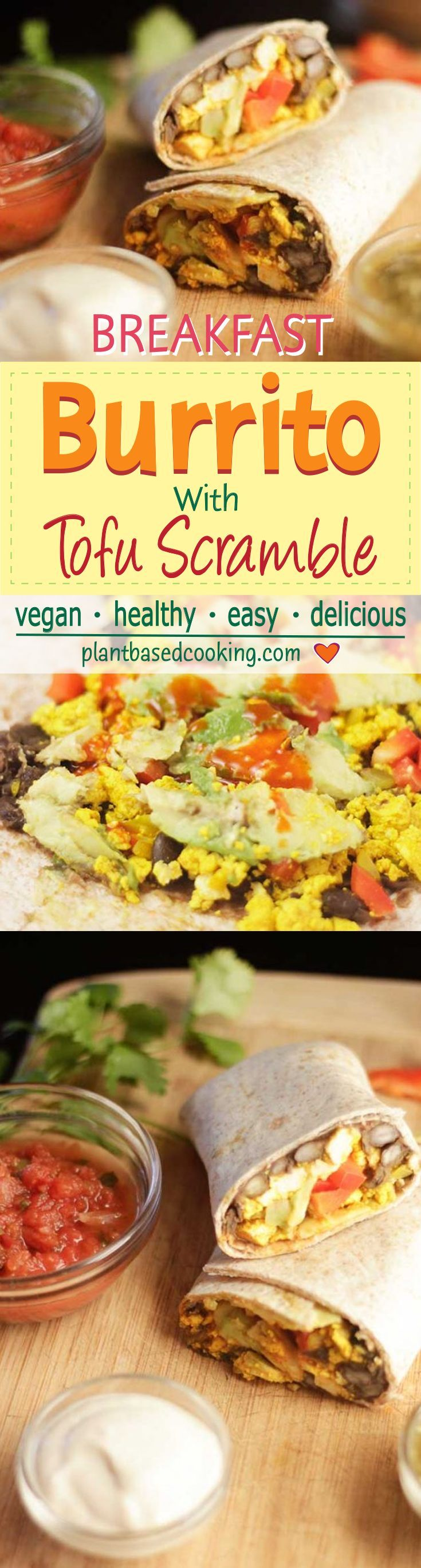 Breakfast Burrito with Tofu Scramble - Looking for a savory breakfast? Beans, tofu scramble, avocado and salsa in a whole grain tortilla does the trick. Quick and easy.