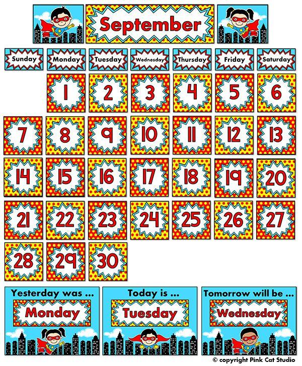 Kindergarten Calendar Powerpoint : Best superhero theme classroom images on pinterest