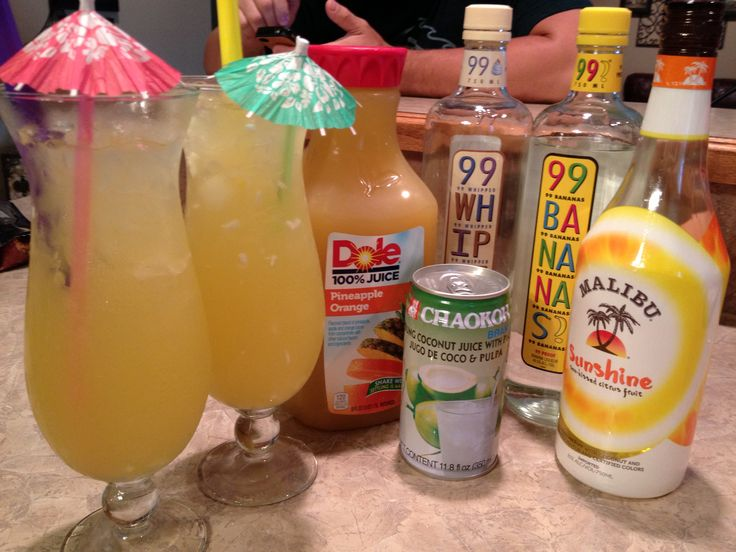 Juicy Fruit- Malibu Sunshine, pineapple/ orange juice, 99 whip , 99 bananas, coconut juice w/ pulp( it's like snacks in the drink) I'm going to say mix to taste because the 99 proof liquors will kick your butt ... Wow this was good, and couldn't taste the liquor so be careful