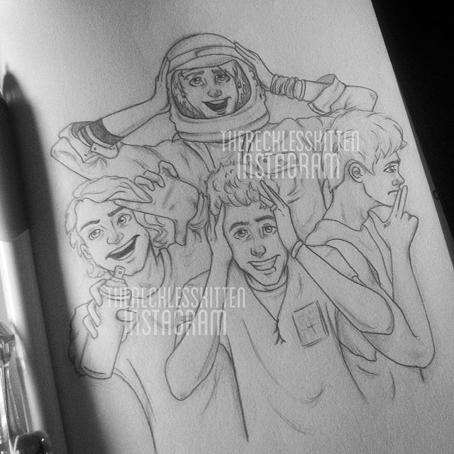 Instagram media by therecklesskitten - The nugget kings (THIS TOOK ME ALL MORNING SO PLS DO NOT COPY OR STEAL MY DRAWING) #5sos #5secondsofsummer #michaelclifford #lukehemmings #calumhood #ashtonirwin #sgfg #soundsgoodfeelsgood #soundslivefeelslive #5sosfanart