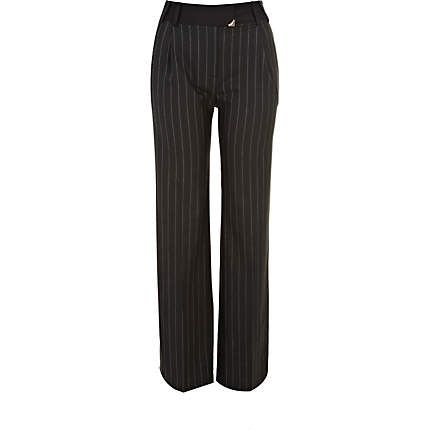 A must-have for those in the know - these black pinstripe high waisted slouch trousers #riverisland #bloggerstyle