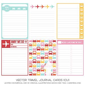 Vector Travel Journal Cards {CU}- Click on these words- FREE {Printables} Best Ever Journal Cards {739} PDF auto download starts- Save As!