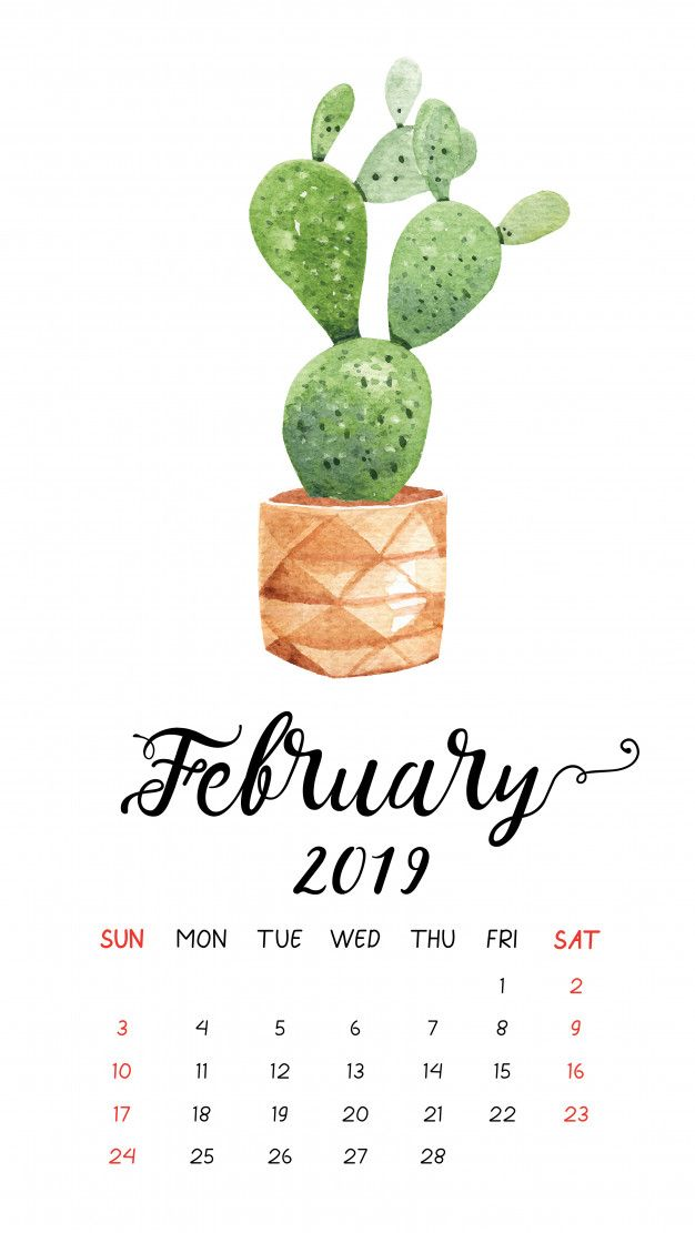 Calendario Julio 2019 Vector.Watercolor Cactus Calendar For February 2019 Premium Vector