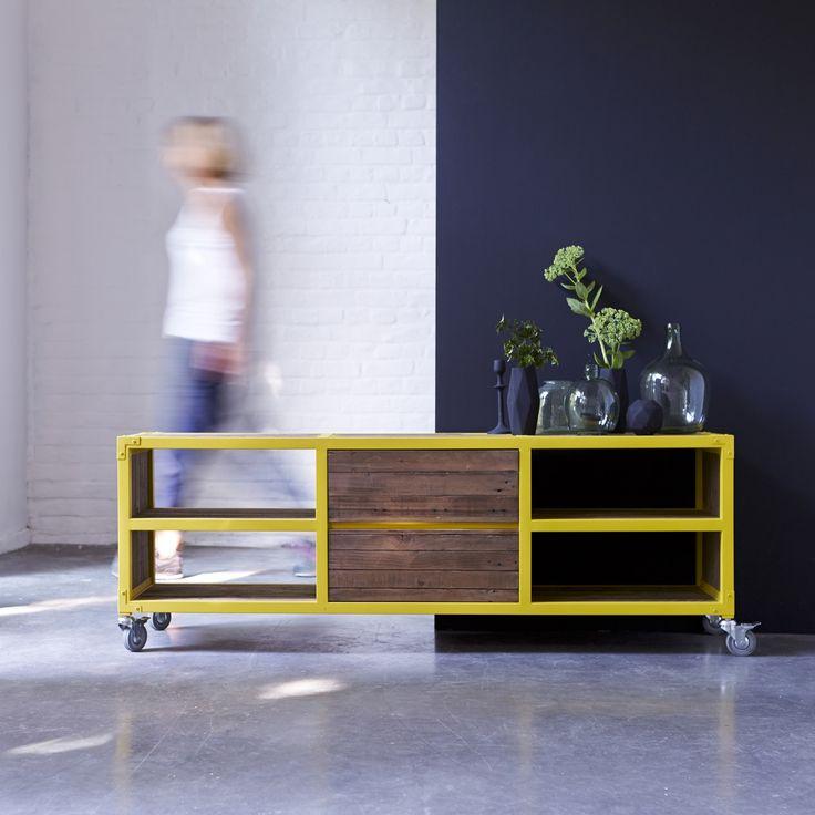 Meuble tv en bois recyclés et métal 160 atelier yellow