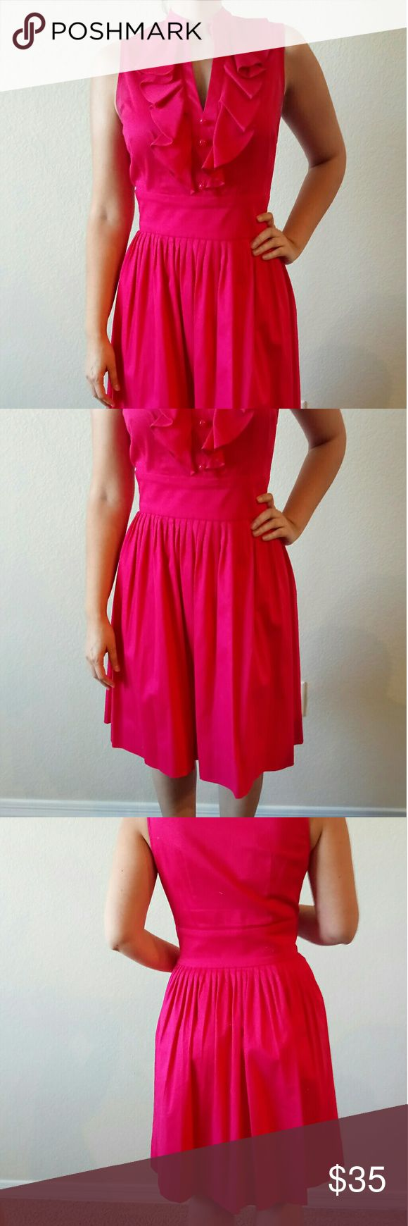 Eliza J Hot Pink Dress Size 4 Adorable hot pink dress with ruffle detail and hot pink buttons at the chest and a gathered skirt Eliza J Dresses Midi