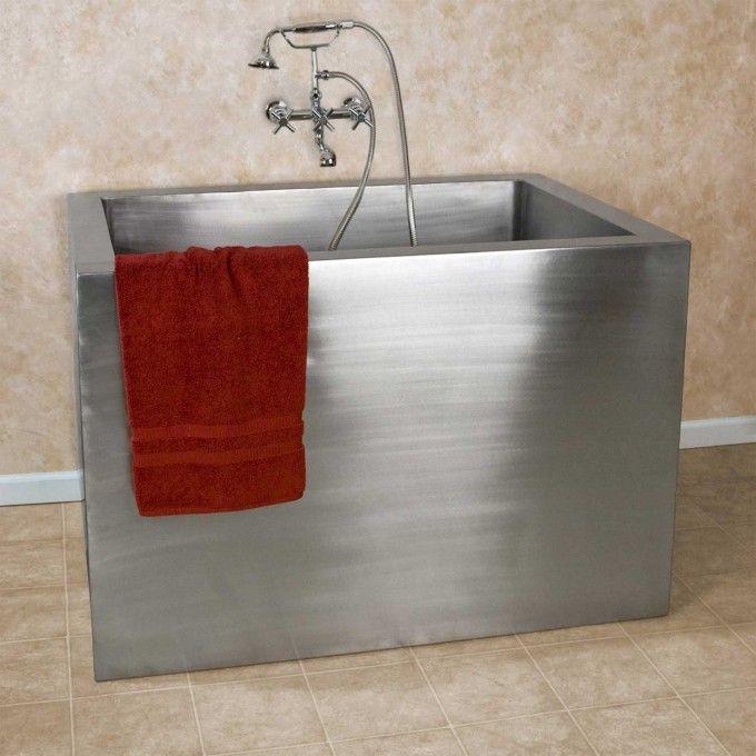 "Dream tub!  48"" Amery Brushed Stainless Steel Soaking Tub - Japanese Soaking Tubs - Bathtubs - Bathroom http://www.signaturehardware.com/bathroom/bathtubs/japanese-soaking-tubs/48-amery-rectangular-brushed-stainless-steel-japanese-style-soaking-tub.html"