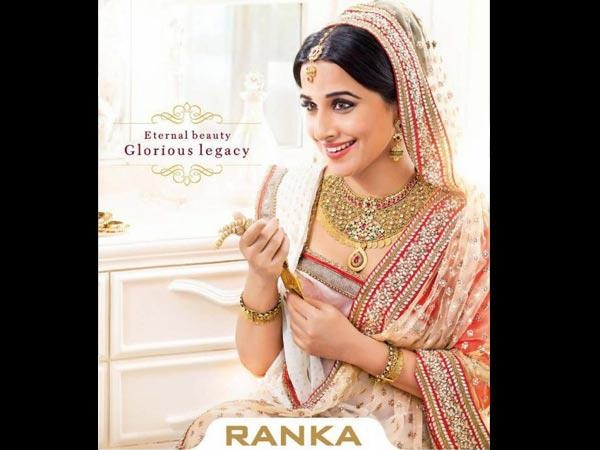 Brand Ambassador of Ranka Jewellers, actress Vidya Balan   pic source: boldsky.comBollywood Inspiration, Indian Brides, Vidya Balan, North Indian, Mughal Empire, Indian Clothing, Indian Bridal, Indian Jewelery, Ranka Jewels