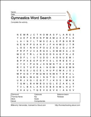 Gymnastics Printables - Gymnastics Wordsearch. Print the Gymnastics Word Search and find the Gymnastics related words.