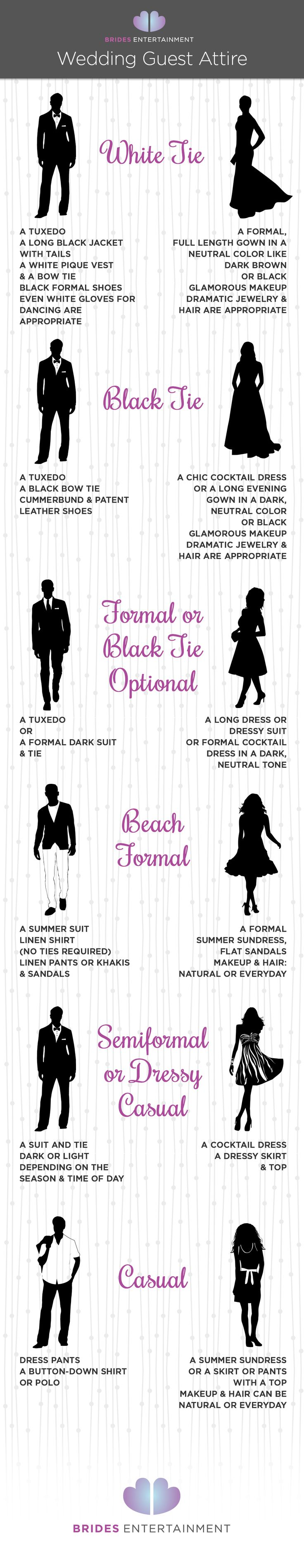Wedding Attire Deciphered - Difference between white and black tie, semiformal, beach casual - Bride's Entertainment