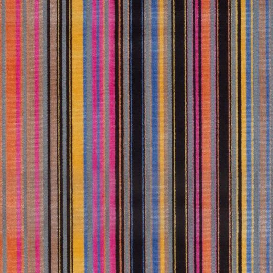 Gondolier Velvet Fabric A dazzling cut velvet fabric with narrow vertical stripes in pink, orange and black on a grey ground.