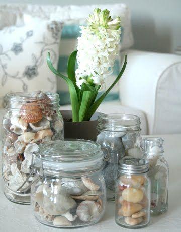 Glass Jars for Organizing & Displaying Shells, Seaglass, Pebbles