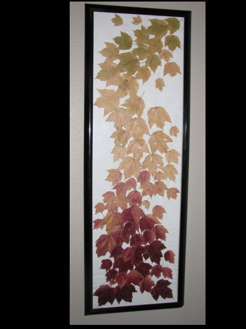 I pressed & dried leaves from a tree to create this fall transition.
