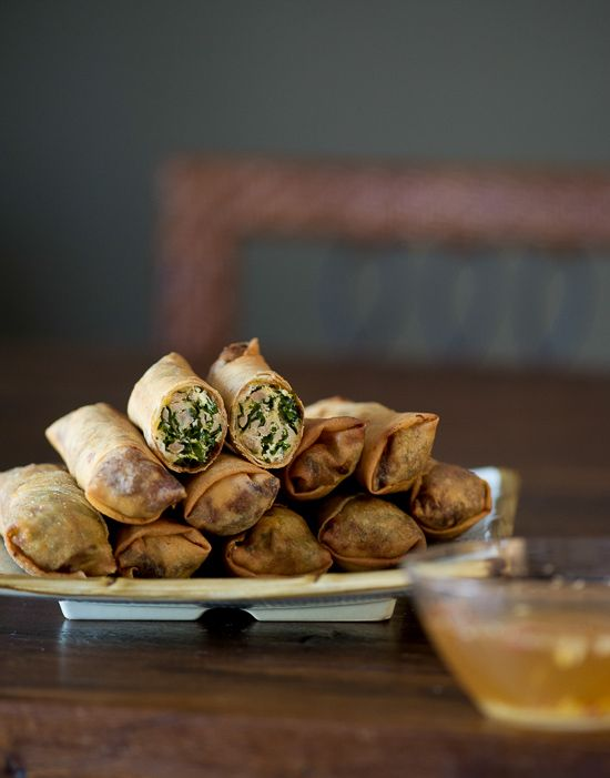 Kale and Chicken Egg Rolls