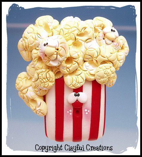 Polymer Clay Popcorn Magnet by Clayful Creations...Fun, fun, fun!