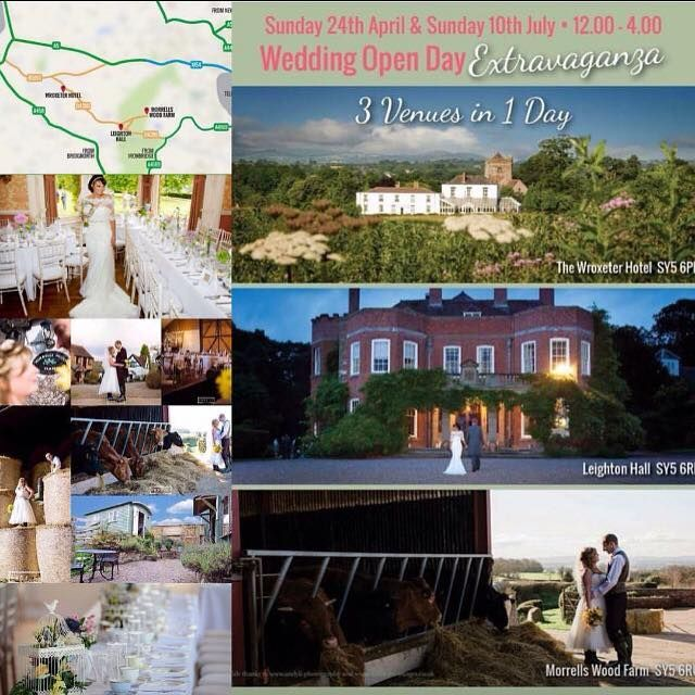 Sunday 24th April 12-16.00pm- Wedding Open Day Extravaganza - 3 Venues in 1 Day......  From field and farm festival weddings to tipis and marquees. From country house comforts to stately home grandeur – we've got it all in 4 square miles of Shropshire!  In the heart of Shropshire yet 10 minutes from the M54, come along on the 24th April and discover your perfect venue. Whatever your dream day looks like we can advise, help and plan the perfect wedding that reflects your unique relationship…