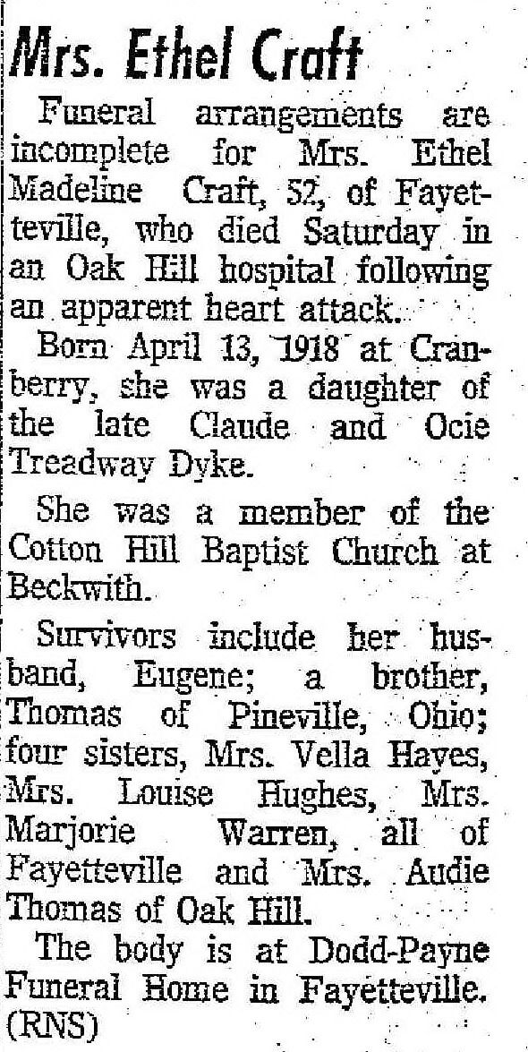 fayette county wv craft family | Obituary of Ethel Madeline Craft, Beckley (WV) Post-Herald & Register ...