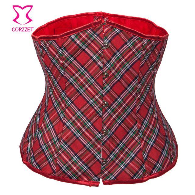 School Girl Cosplay rojo de la tela escocesa Burlesque Sexy Corset gótico corsés…