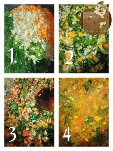 Arroz con verduras : puerro, cebolla, ajo, pimiento verde, tomate natural, zanahoria, acelga, habas pimienta negra laurel vino blanco