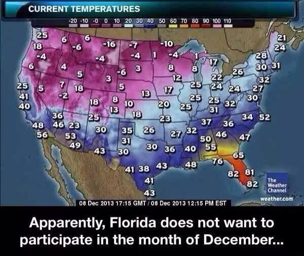 Memefrontier.com is showing off an amusing image | Not a meme | Florida and December do not get along