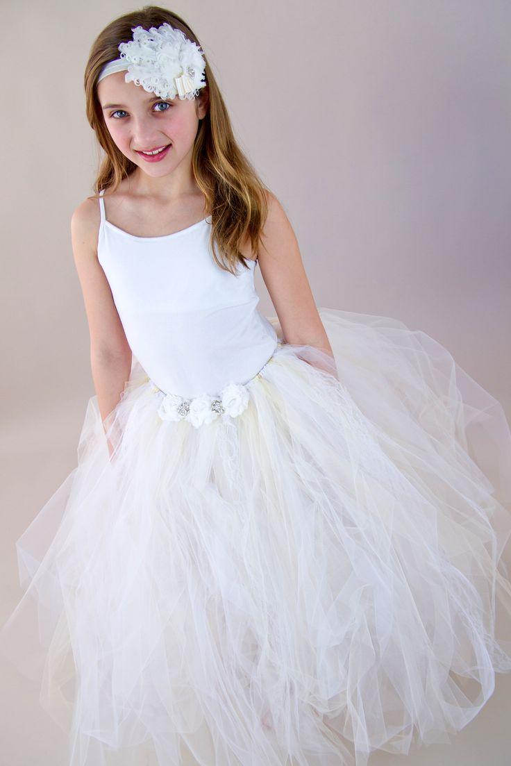 Floor length flower girl skirt. Shabby flowers, sparkle, white, ivory, champagne, satin ribbon tie.