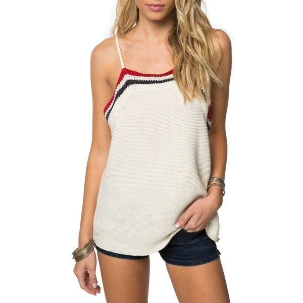 Women's O'Neill Eli Crochet Tank ($50) ❤ liked on Polyvore featuring tops, naked, america tank top, stripe tank top, white tops, white singlet and slouchy tops
