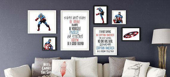 Captain America, Marvel baby gifts, Avengers, Superhero wall art, marvel wall art, Print Set, Nursery art, Baby, superhero party, printable