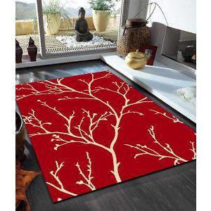 Branch+Silhouette+Design+Rug+Red+290x200cm