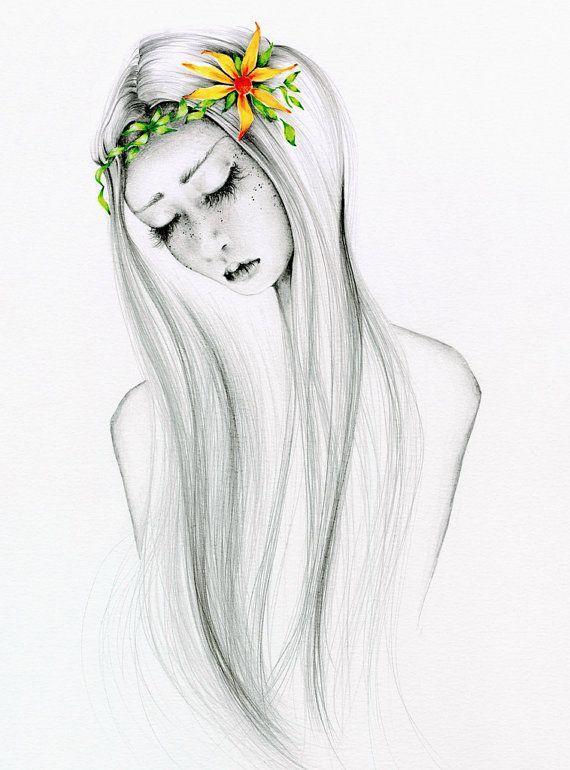 Tirage d'Art bohémien de mon crayon dessin Illustration Bohème Boho Chic fille dessin Original d'une jeune fille cadeau pour sa giclée Illustration