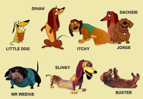 Los conocen?... :  [b]Son algunos personajes Salchichas de ficción.[/b]    [b]Little Dog[/b] - [i]2 Stupid Dogs ~ serie de Cartoon Network[/i] [b]Dinah[/b] - [i]perrita de la cual Pluto se enamora ~ Serie Disney[/i] [b]Itchy[/b] - [i]Todos los perros van al cielo ~ Película[/i] [b]Dachsie[/b] - [i]La dama y el vagabundo ~ Película[/i] [b]Jorge[/b] - [i]Clifford de cachorrito ~ Serie Discovery Kids[/i] [b]Mr Weenie[/b] - [i]Open Season ~ ...
