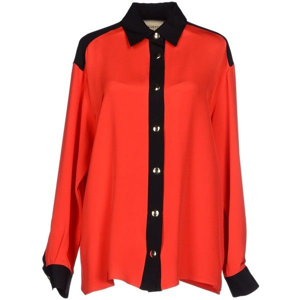 Fausto Puglisi Shirt ($425) ❤ liked on Polyvore featuring tops, red, fausto puglisi, red top, extra long sleeve shirts, long sleeve snap button shirts and red long sleeve shirt