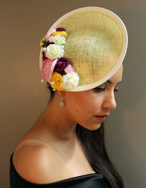 Yellow Fascinator Hat  Saucer Style by DesireeSpice on Etsy