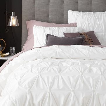 Love this white duvet set, its going to be nice to start a new chapter with a brand new duvet cover! Love how simple & clean it is! - Organic Cotton Pintuck Duvet Cover + Shams - White