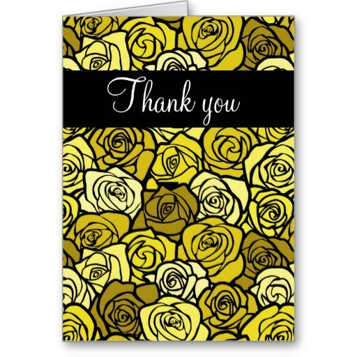 Vintage Yellow roses Thank You Card #yellow #wedding #weddinginvitations #savethedate #weddings #zazzle