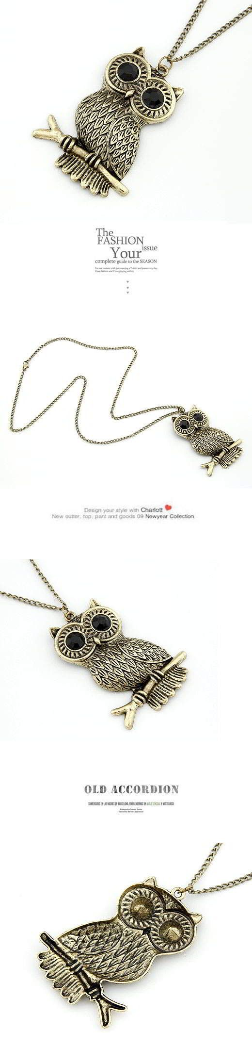 Korean Exquisite Vintage Fashion OWL Standing On Branch Charm Design Sweater Chain General.  Fashionable with passion REPIN if you like it. Only 26 IDR