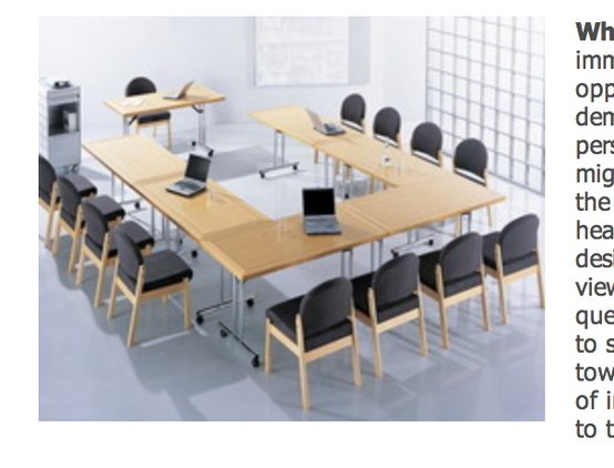 The U-Shape with seperate tables for break out add/remove workspaces in boardroom