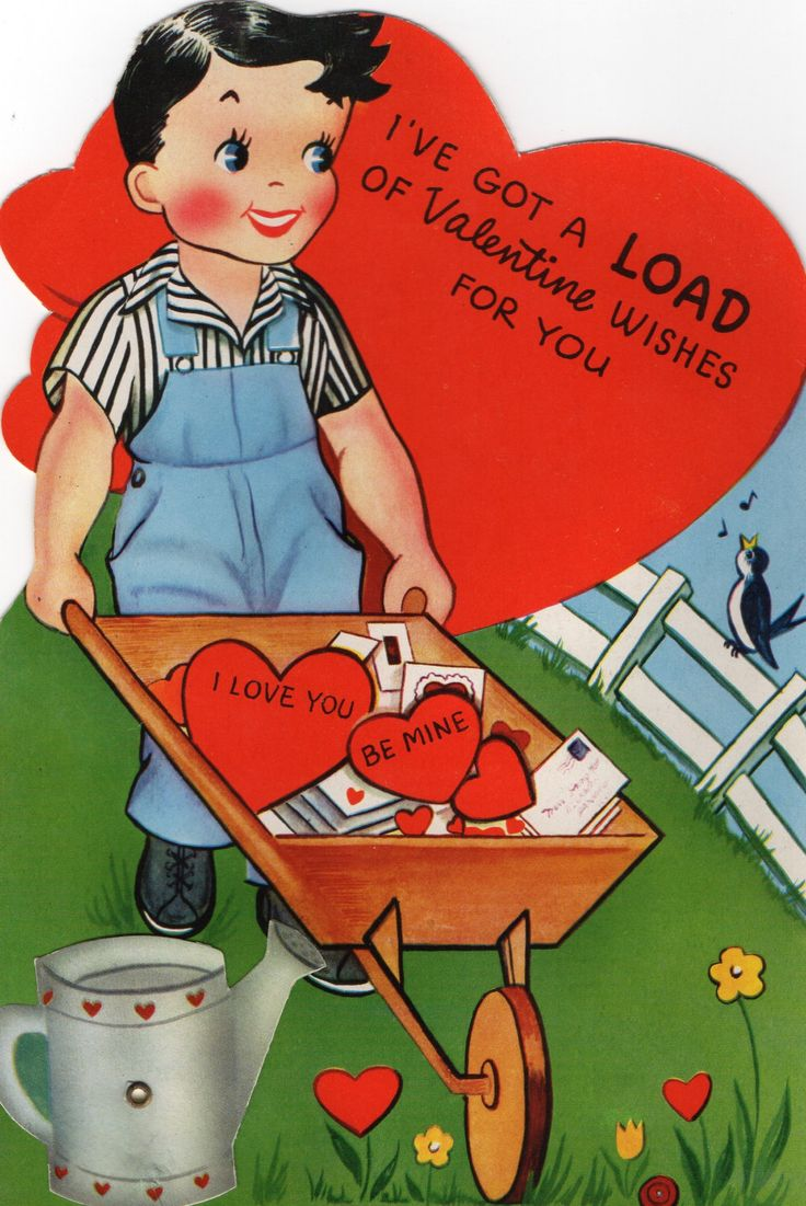 BIG Vintage Mechanical Greeting Card Cute Boy in Overalls Pushes Wheelbarrow Full of Mail I've Got a LOAD of VALENTINE Wishes 4U I Love You by ReTroStyleMerCantile on Etsy