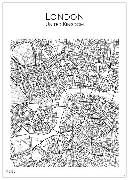 Handritad affisch över London i UK. Här kan du beställa stadskarta över din stad och andra svenska samt utländska städer.