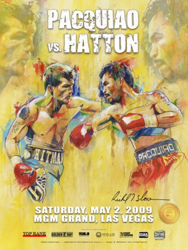 Manny Pacquiao vs Ricky Hatton Official On Site Fight poster by H.O.F. artist Richard T. Slone