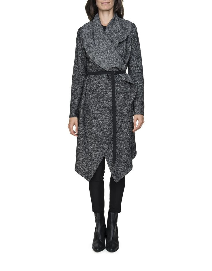 Wool Blend Waterfall Coat