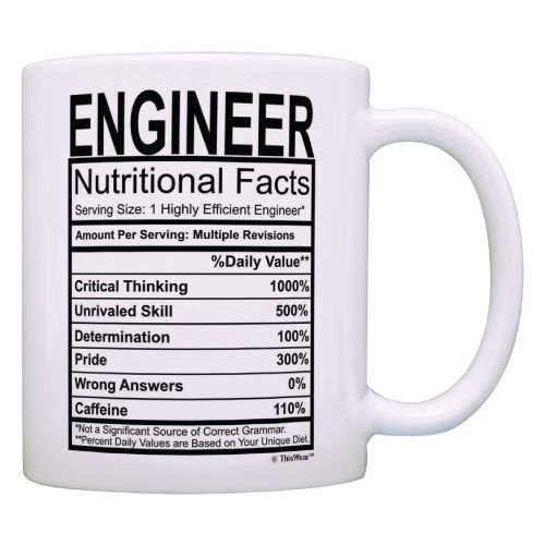 Engineer Nutritional Facts Label Mug. Contains engineering humor. Gift ideas for engineers. (National Engineers Week)