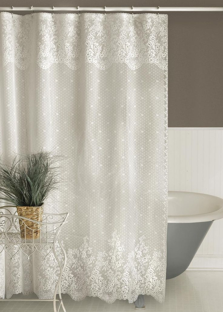 Heritage Lace Floret Shower Curtain 2 Colors Select Ecru Or White